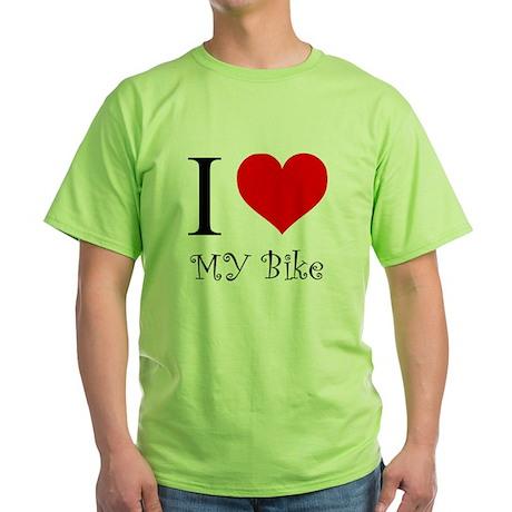 I Love my bike Green T-Shirt