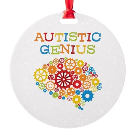 Autistic Genius Brain Round Ornament