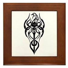 Flaming Vampire Skull Framed Tile