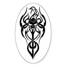 Flaming Vampire Skull Oval Decal