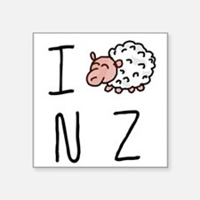 "I Heart NZ - Cute Sheep Square Sticker 3"" x 3"""