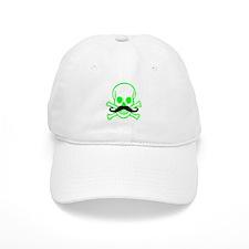 Green Mustache Skull Baseball Cap