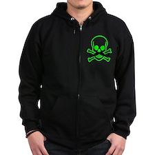 Green Mustache Skull Zip Hoodie