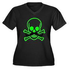 Green Mustache Skull Women's Plus Size V-Neck Dark