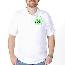 Green Mustache Skull T-Shirt