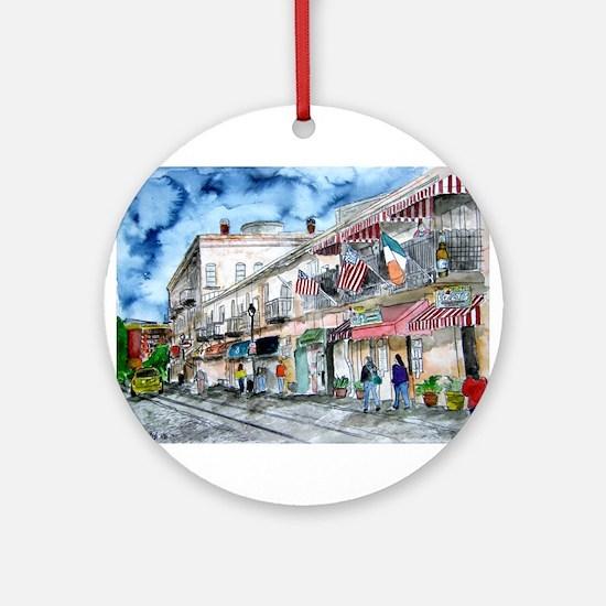 savannah river street painting Ornament (Round)