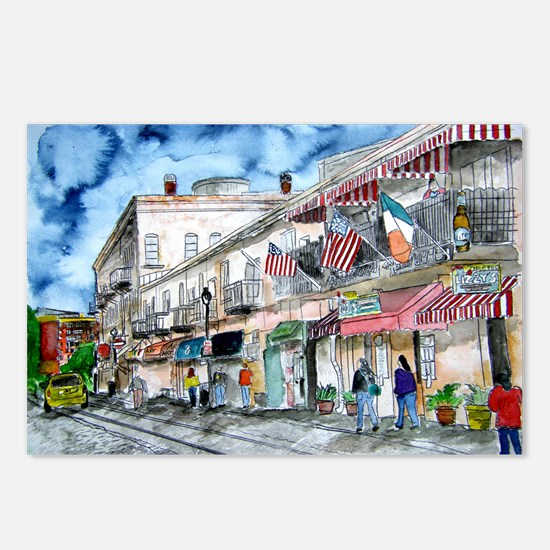 savannah river street painting Postcards (Package
