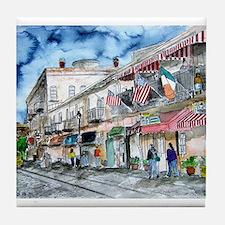 savannah river street painting Tile Coaster