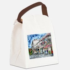 savannah river street painting Canvas Lunch Bag