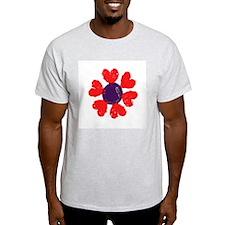 Heart Flower Ash Grey T-Shirt