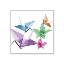 Origami composition lilies and cranes Square Stick