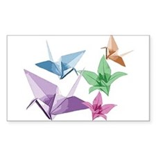 Origami composition lilies and cranes Decal
