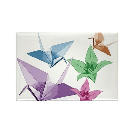Origami composition lilies and cranes Rectangle Ma
