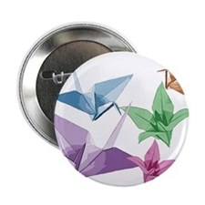 """Origami composition lilies and cranes 2.25"""" Button"""