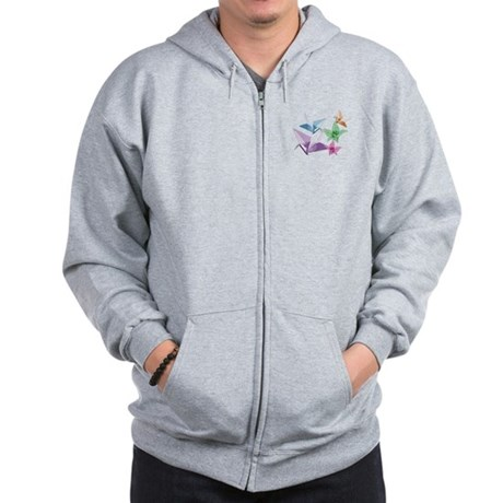 Origami composition lilies and cranes Zip Hoodie