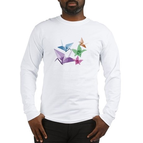 Origami composition lilies and cranes Long Sleeve