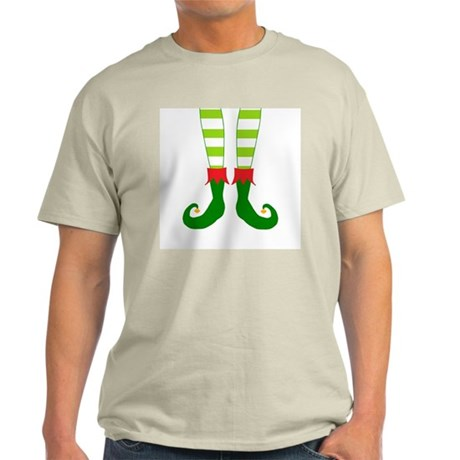 Christmas Elf Feet in Green and Red Light T-Shirt