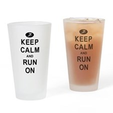 Keep Calm and Run On Drinking Glass