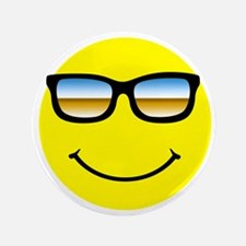 "Smiley Face Glasses 3.5"" Button"