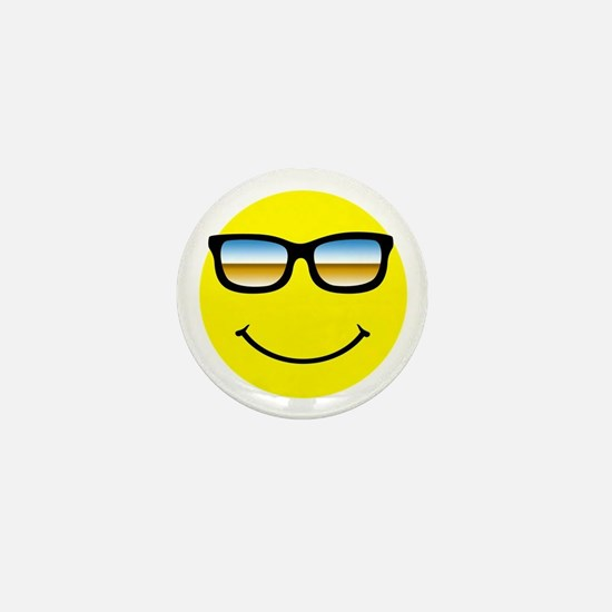 Smiley Face Glasses Mini Button