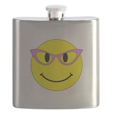 Smiley Face Pink Glasses Flask