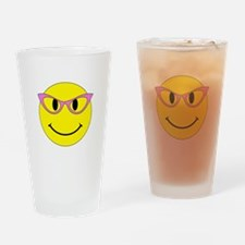 Smiley Face Pink Glasses Drinking Glass