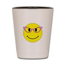 Smiley Face Pink Glasses Shot Glass