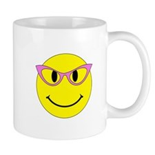 Smiley Face Pink Glasses Small Mugs