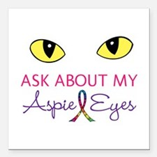 "Aspie Eyes Square Car Magnet 3"" x 3"""