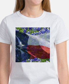Texas state flag with bluebonnets T-Shirt