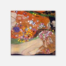 "Gustav Klimt Water Serpents Square Sticker 3"" x 3"""