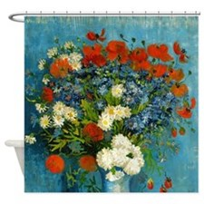 Van Gogh Cornflowers And Poppies Shower Curtain