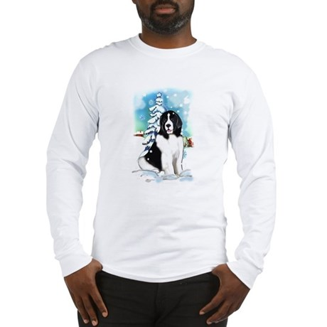 Winter scene with Newf Long Sleeve T-Shirt