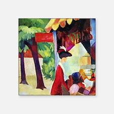 """August Macke Before Hutladen Square Sticker 3"""" x 3"""