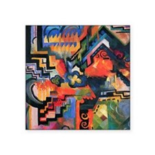 August Macke Colored Composition Square Sticker 3""