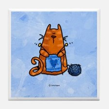 Knitting Kitty Tile Coaster
