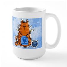 Knitting Kitty (outlined) Mug