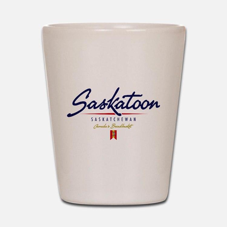 Saskatoon Script Shot Glass