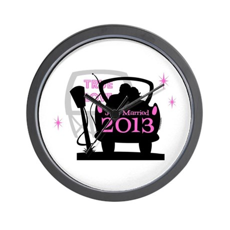 Drive In Newlyweds 2013 Wall Clock