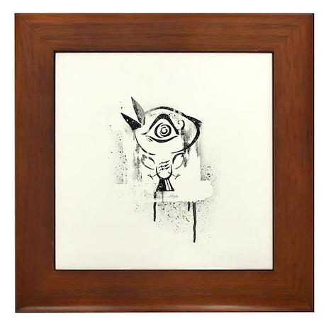 Graffiti Third Eye Bird Framed Tile