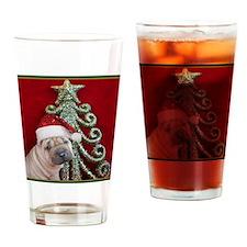 Christmas shar pei Drinking Glass