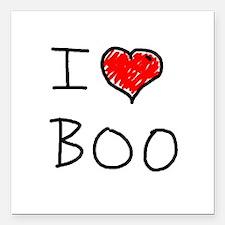 "i love boo Square Car Magnet 3"" x 3"""