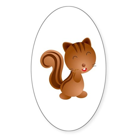 Cute and Cuddly Baby Squirrel Sticker (Oval)