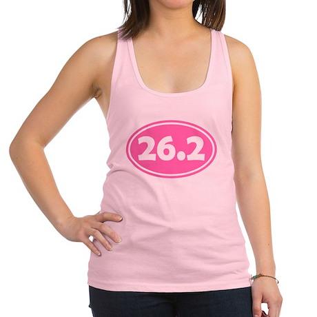 26.2 Oval - Pink Racerback Tank Top