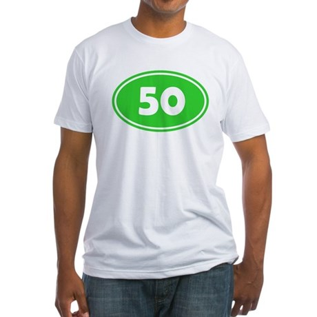 50k Oval - Lime Green Fitted T-Shirt
