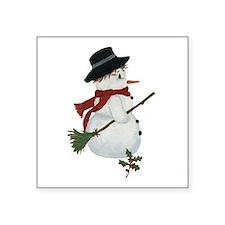 "Country Snowman Square Sticker 3"" x 3"""