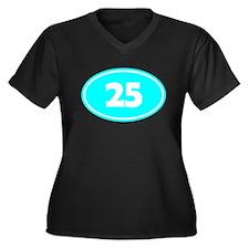 25k Oval - Cyan Women's Plus Size V-Neck Dark T-Sh