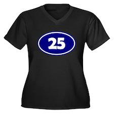 25k Oval - Navy Blue Women's Plus Size V-Neck Dark
