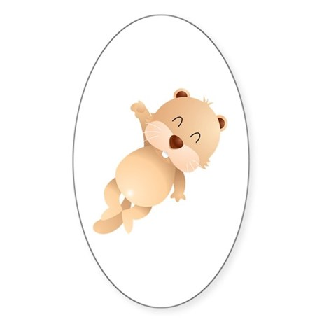 Cute and Cuddly Baby Otter Sticker (Oval)