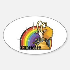Capricorn with Rainbow Design Oval Decal
